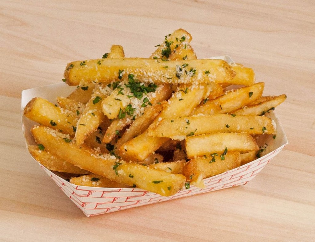 Golden fries topped with garlic and parmesan