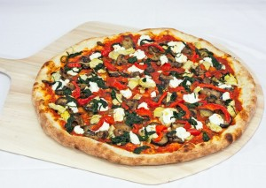 ricotta, artichoke, peppers, eggplant, spinach, and mushroom pizza