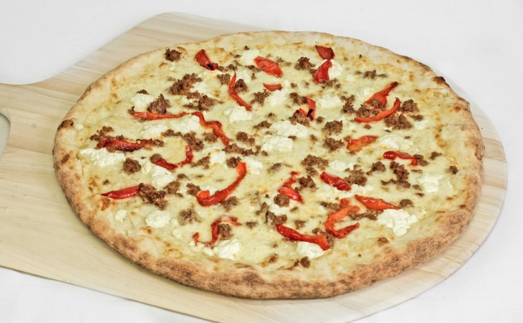 mozzarella, ricotta, peppers, and sausage pizza