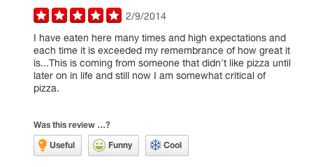 Yelp review for Pop Up Pizza in Las Vegas