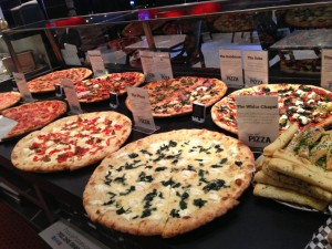 A row of various Pop Up pizzas